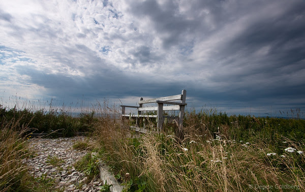 bench facing west, on the coast of Newfoundland