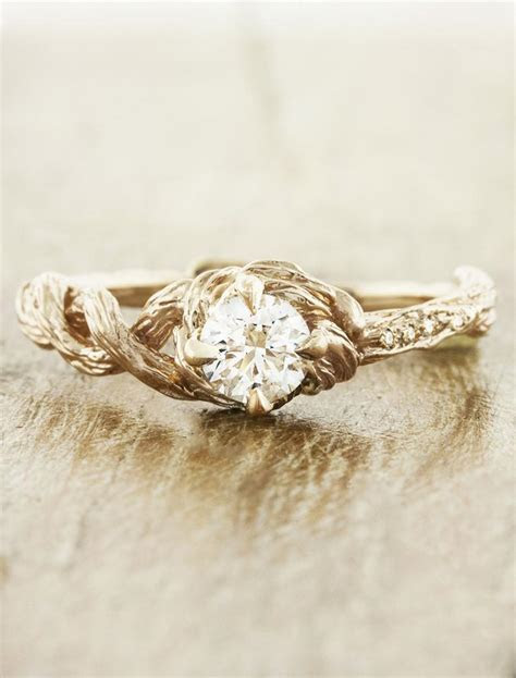Nicole: Nature Inspired Tree Bark Band, Diamond Solitaire