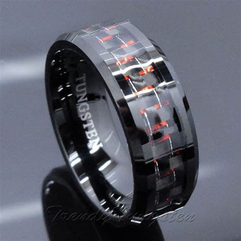 *Men's Tungsten Ring with Carbon Fiber 8mm Black and Red