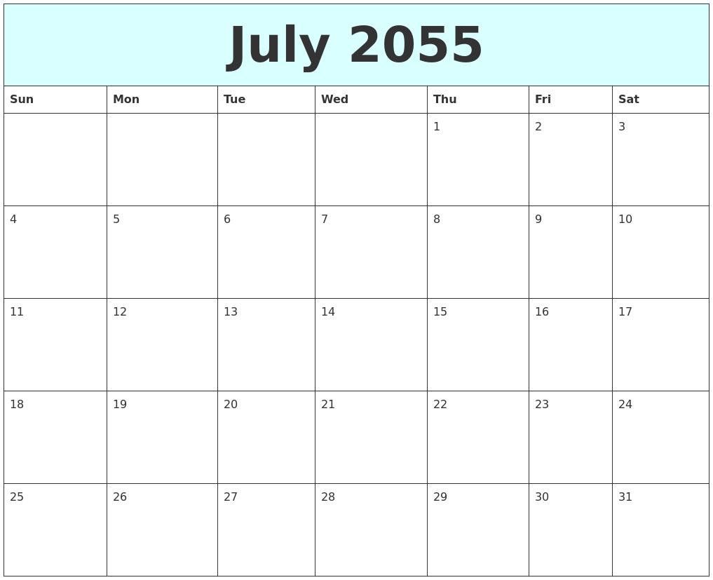 july 2055 free calendar