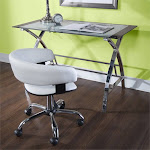 Powell Jared 2 Piece Glass Top Writing Desk and Chair Set in White - D1126A18