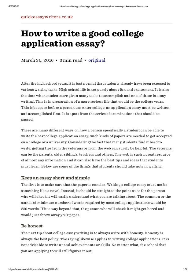 how to write college application essay best examples
