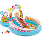 Intex 9ft x 6ft x 51in Kids Inflatable Candy Zone Play Center Pool w/ Waterslide by VM Express