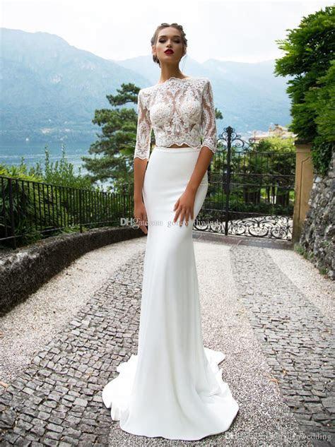 Half Sleeves Two Piece Mermaid Wedding Dresses 2017 Milla