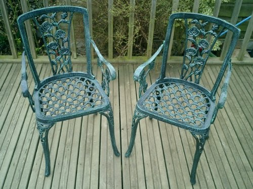 Metal Cast Aluminium Garden Carver Chairs X2 Rose Antique