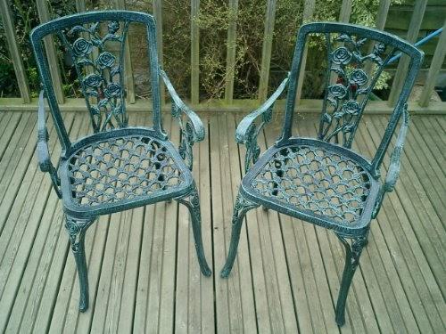 Metal Cast Aluminium Garden Carver Chairs x2 Rose Antique