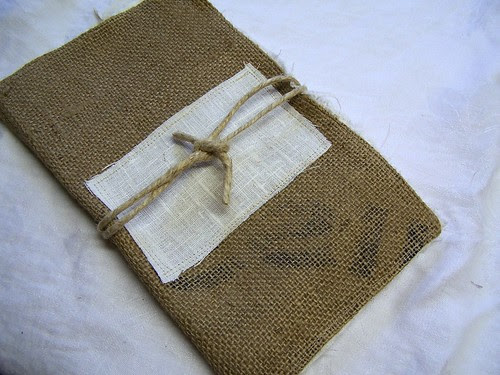 front cover with linen panel and detached twine closure
