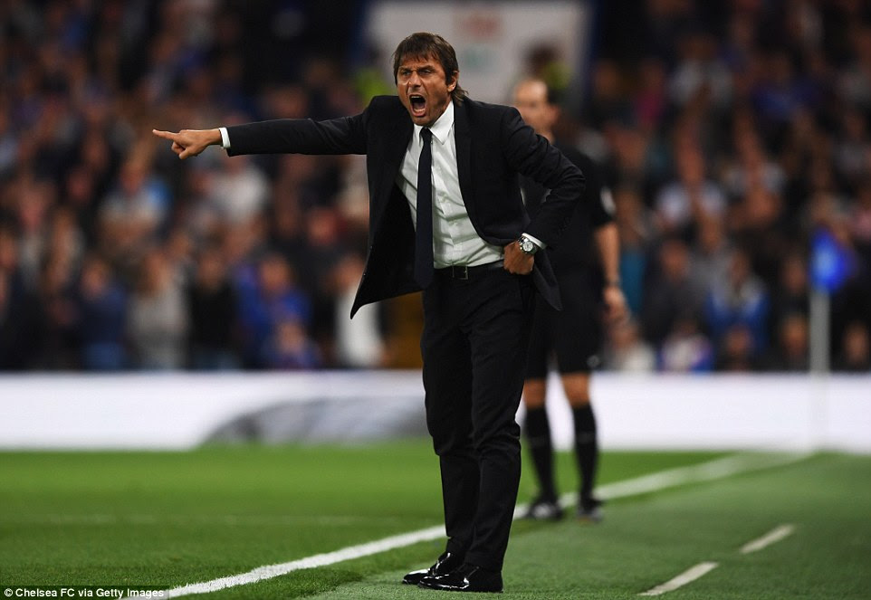 New Chelsea manager Antonio Conte, who started the game unbeaten, screams instructions from the sidelines