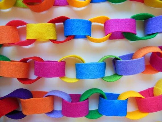 KLEURRIJK VILT GARLAND * Heldere Kleuren * Ecologische Garland * Crayola Crayon Kleuren * Kleuren van de Regenboog * Vilt Chain