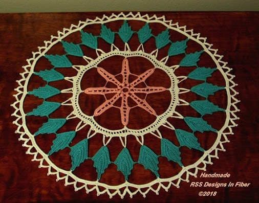 Brand New #Flower #Doily!! #Handmade #Irish #Crochet with a Peach Flower in the Center - and a Ring ...
