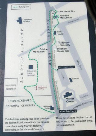 Map of Sunken Road/Marye's Heights walking tour