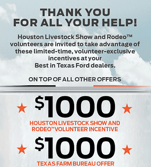 $1000 Houston Rodeo Volunteers Direct Offer Program · Redeem