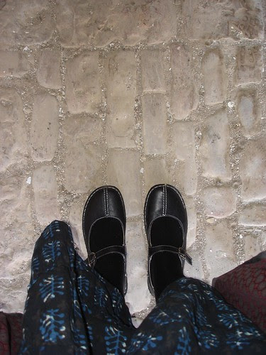 On the set: Shoes on century-old cobblestones