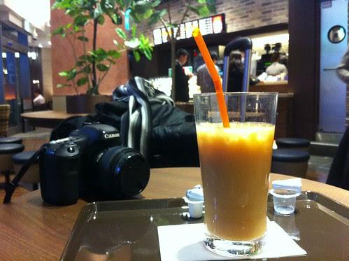 Enjoying some milk tea before hopping onto the bus to Kanazawa