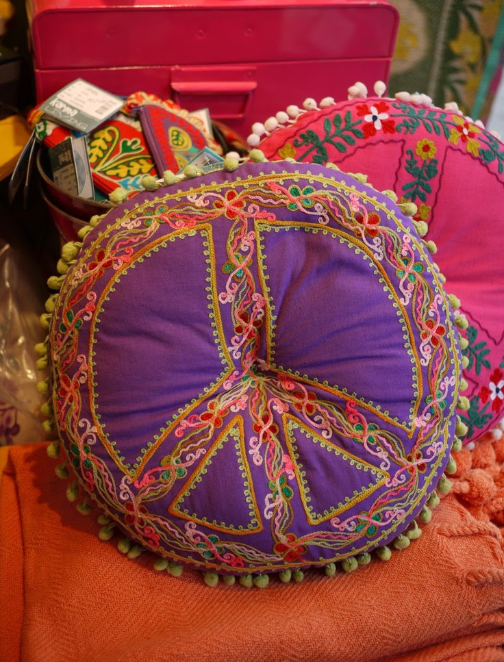 Colorful peace pillows