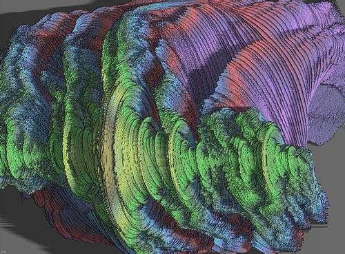Artistic view of 128 quaternionic Julia sets