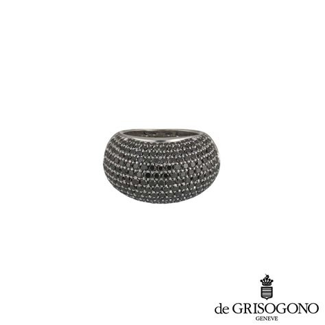 de grisogono  white gold black diamond dress ring