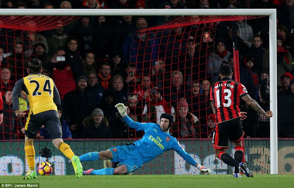 Callum Wilson took the penalty and his shot crept close to the middle of the goal as Cech dived the other way