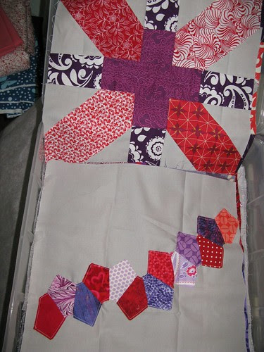 red and purple quilt blocks