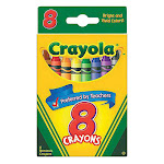 Crayola Classic Color Nontoxic Crayons, Preferred By Teacher With Hang Tab - 8 Assorted, 2 pack