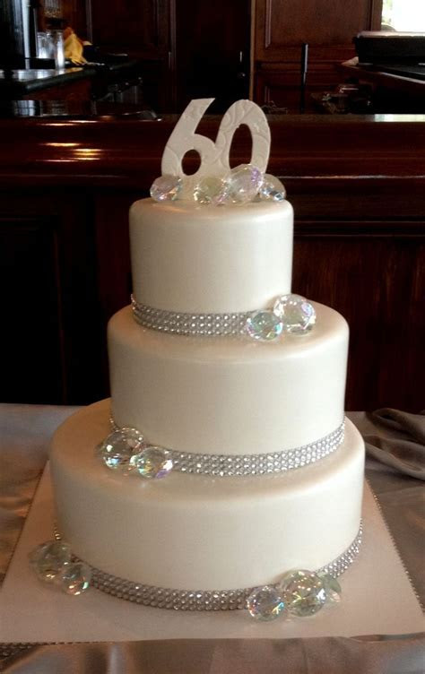 60th Wedding anniversary cake with a little bling.   60th
