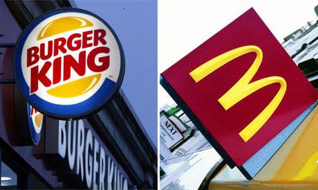Shop fronts of Burger King and McDonald's