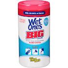 Wet Ones Big Ones Antibacterial Hand Wipes, White - 65 count