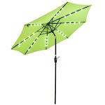 TheLAShop 9' Solar Aluminium Outdoor Tilt Patio Umbrella w/ 32 LEDs Color Opt, Mint Green