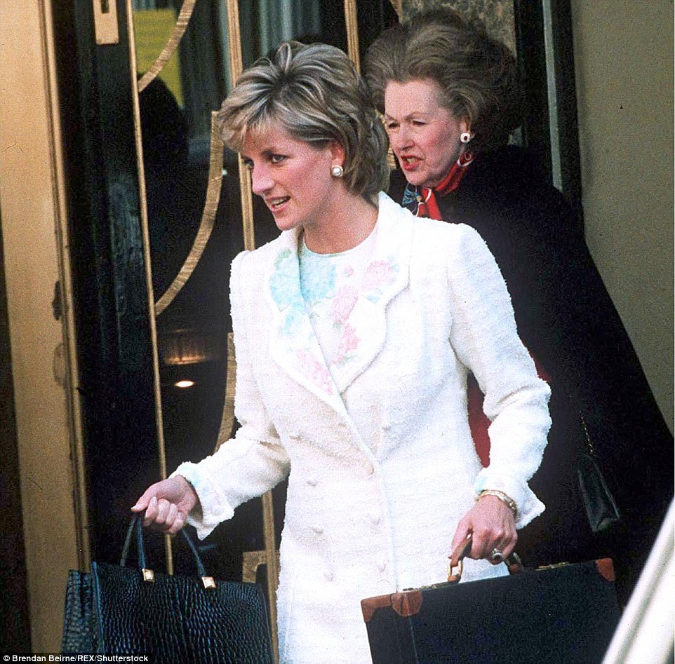 The socialite met Earl Spencer, Diana's father, when she was a young Conservative councillor where she was known for her enormous bouffant hair, pearls, scarves and grand tones. She is pictured above leaving Claridge's Hotel in London in 1996