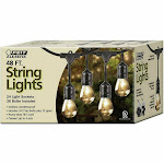 Feit Outdoor Weatherproof String Light Set 48ft 24 Light Sockets with 26 LED Bulbs, Clear