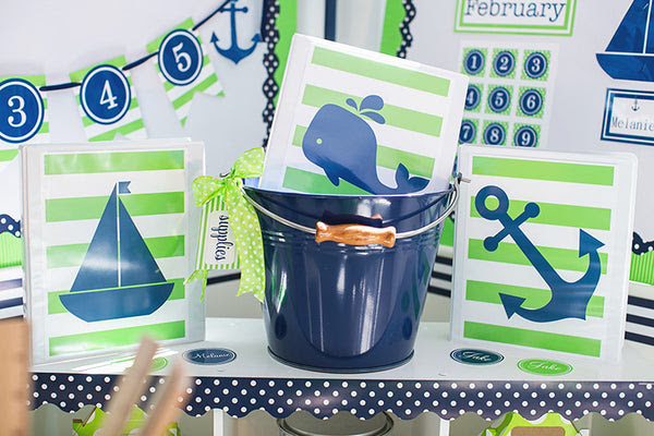 Home > Products > Preppy Nautical Lime Green & Navy Blue - Full ...