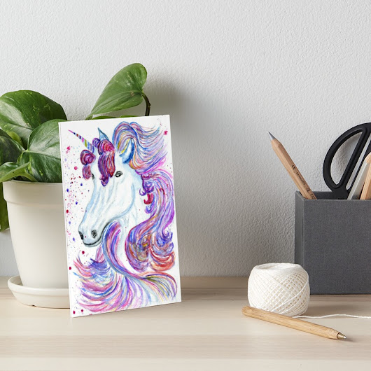 'Fantasy unicorn watercolor' Art Board by AnnArtshock