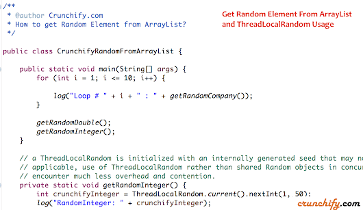 In Java How to Get Random Element from ArrayList and ThreadLocalRandom Usage • Crunchify