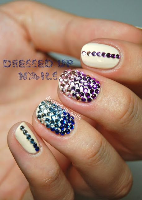 Dressed Up Nails - rhinestone gradient nail art