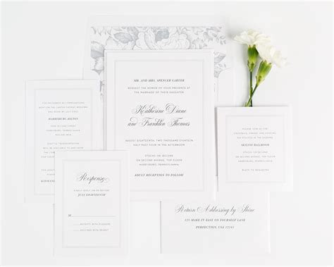 Simple and Classic Wedding Invitations in Dove Gray