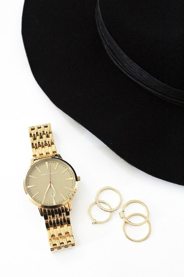 Le Fashion Blog Black Leather Wrapped Fedora Hat Gold Watch Stacked Rings Budget Friendly Jewelry Winter Style Vince Camuto Macys