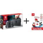 Nintendo Switch 32GB Gray Console with Gray Joy-Cons + 128 gb microSDX Mario