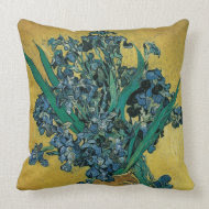 Still Life: Vase with Irises by Vincent van Gogh throwpillow