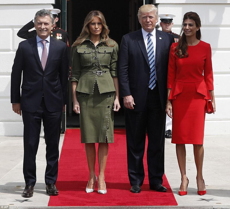 Presidente Donald Trump e sua esposa Melania se encontraram com o presidente argentino Mauricio Macri e sua esposa Juliana Awada na Casa Branca na quinta-feira