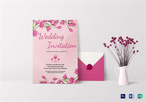 Pink Floral Wedding Invitation Card Design Template in