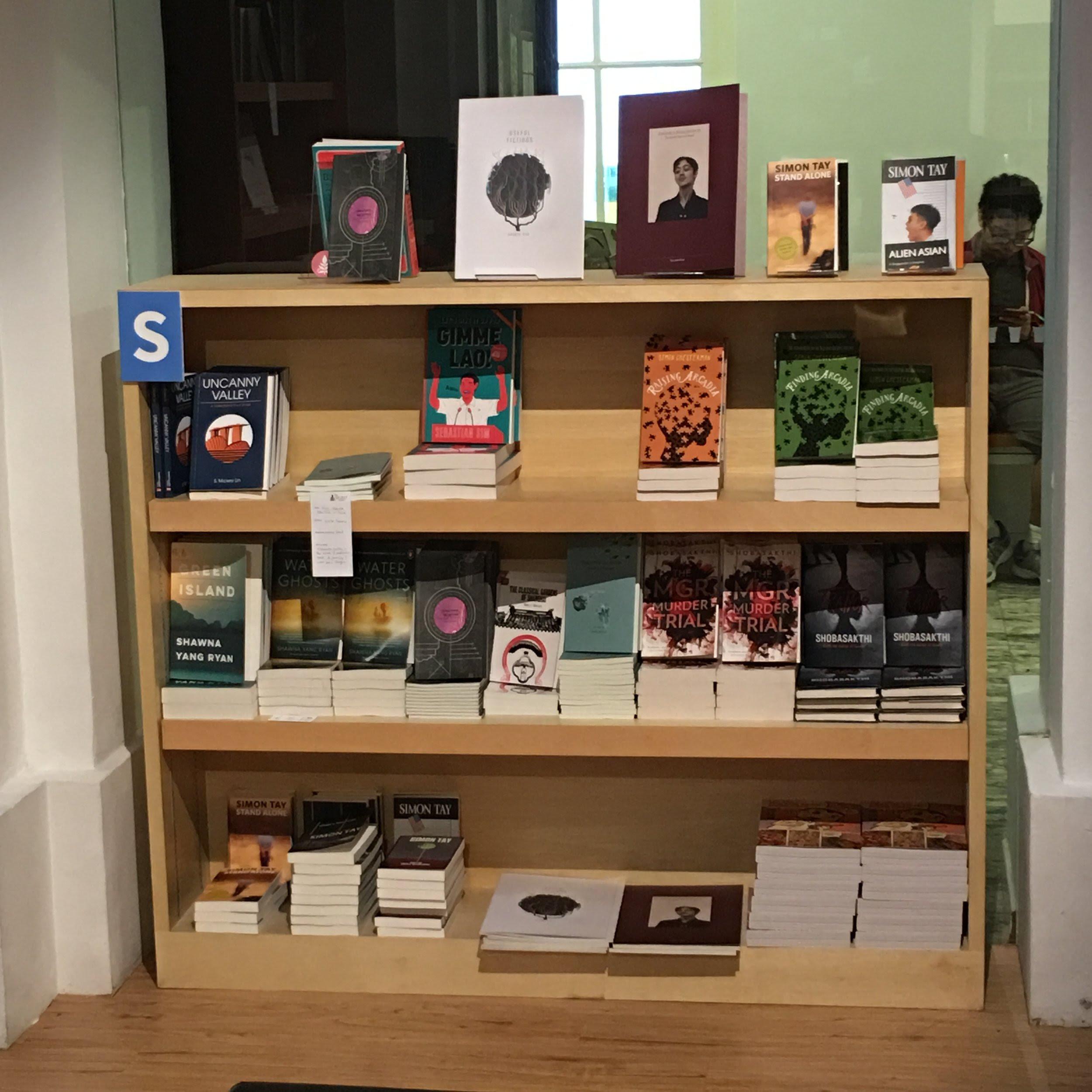 Upper left corner of the bookshelf