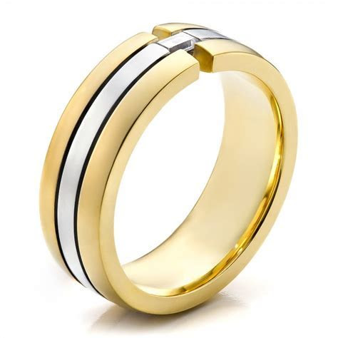 Men's Two Tone Gold and Diamond Wedding Band #100146