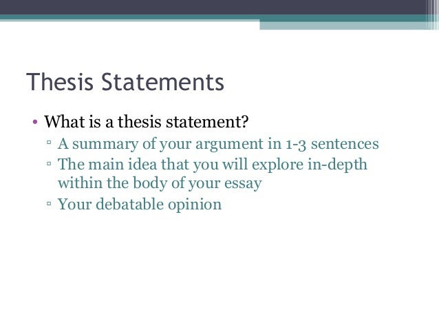 1 what is a thesis statement and why is it important