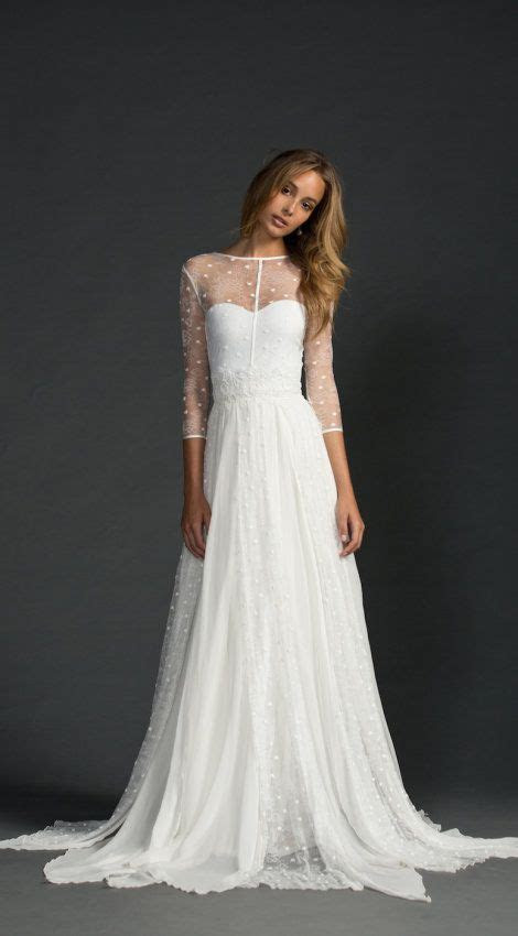 Sheer sleeves, gorgeous flowy wedding gown with illusion