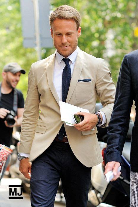 tan suit  blue mens pants matching tie  pocket