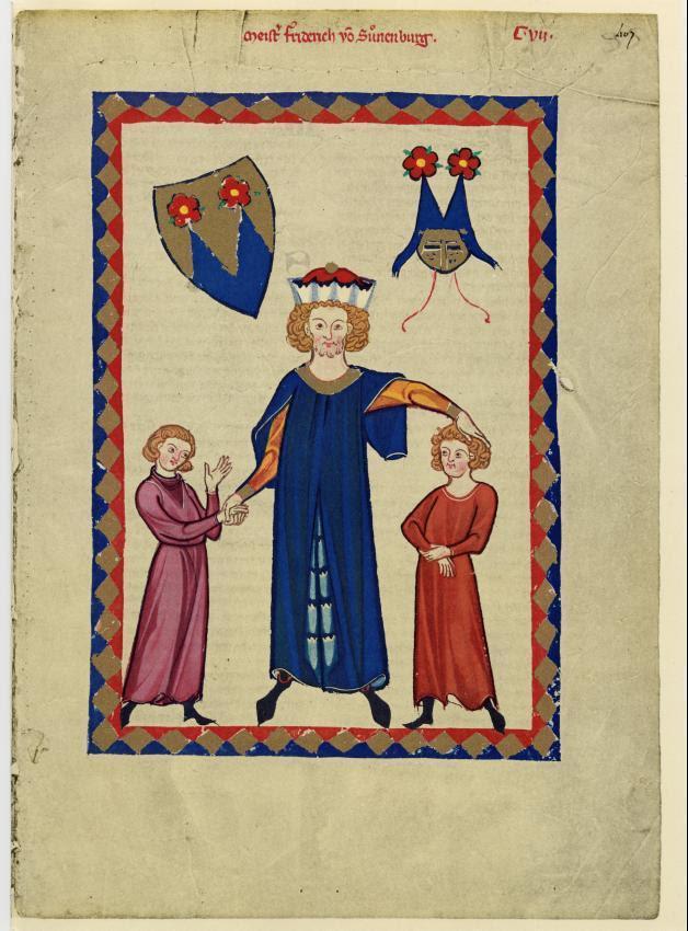 Federico de Sonneburg y sus hijos. Codex Manesse, fol. 407r.
