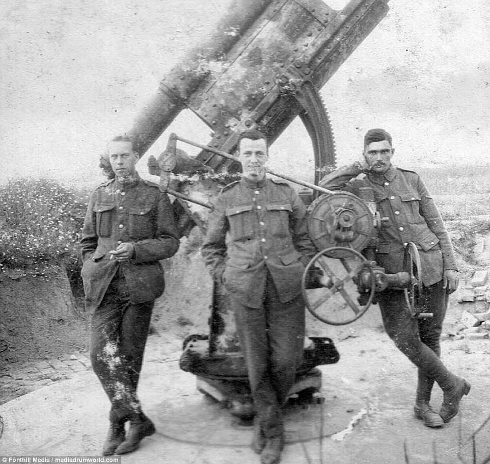 British troops posing for a soldier alongside a German anti-aircraft gun.The men were  going into a country that they had just beaten in the war with all the resulting negative feelings that were going to be shown against them