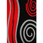 """Contemporary Hand Carved Black And Red Area Rug 7'6"""" x 10'3"""" / Black"""