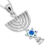 """925 Sterling Silver Blue Simulated Opal Jewish Star of David Menorah Pendant Necklace, 18"""""""