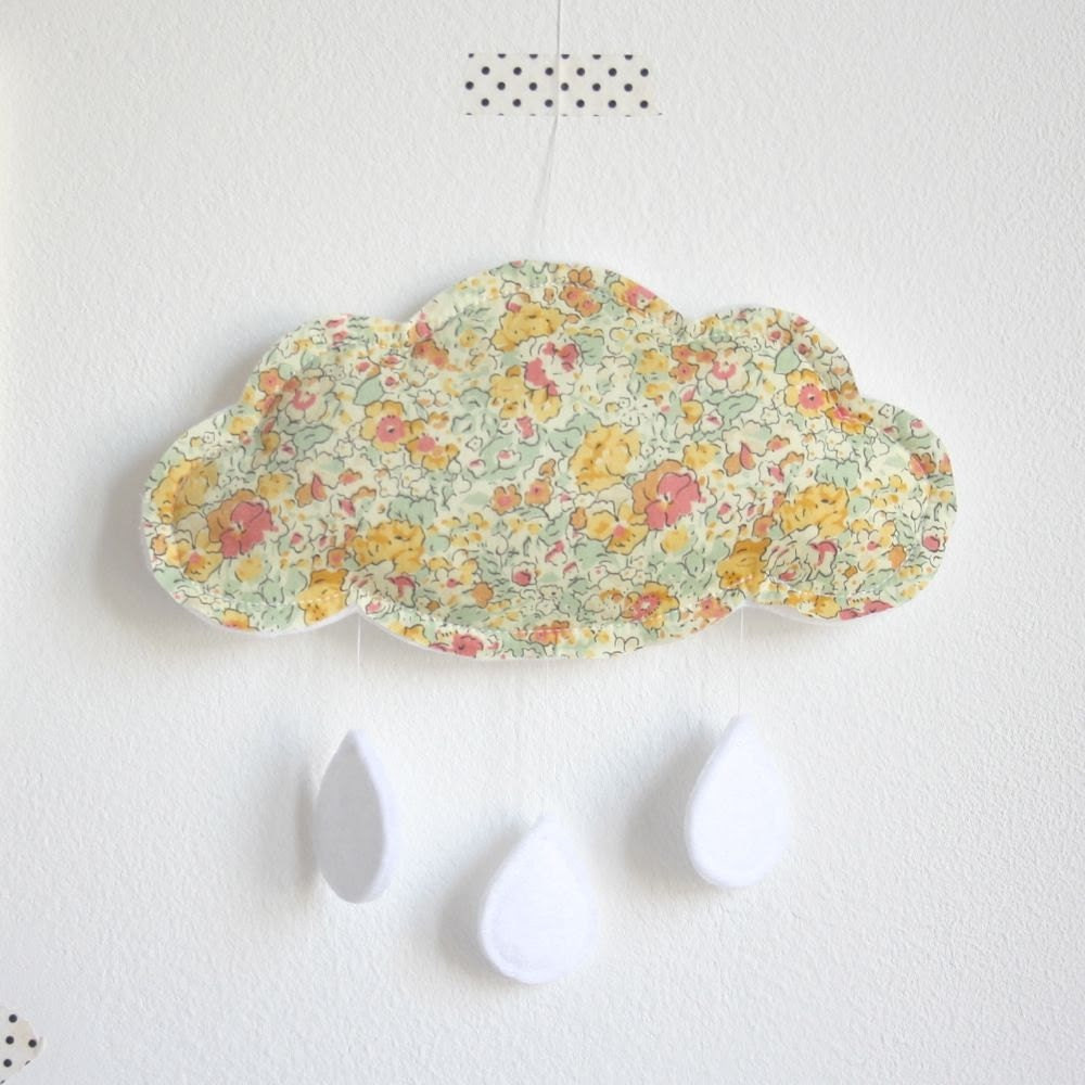 Cloud Baby Crib Mobile - Liberty London Yellow Peach